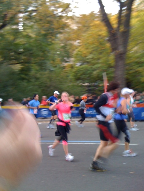 A little blurry but my boyfriend's family took this picture of me. I was blowing them kisses and sprinting as fast as I could!