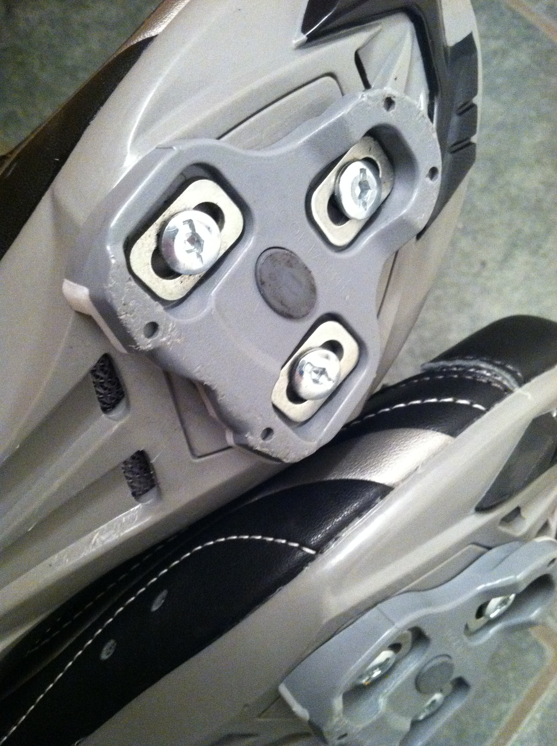 Bottom of a cycle shoe -  clips onto the pedals.