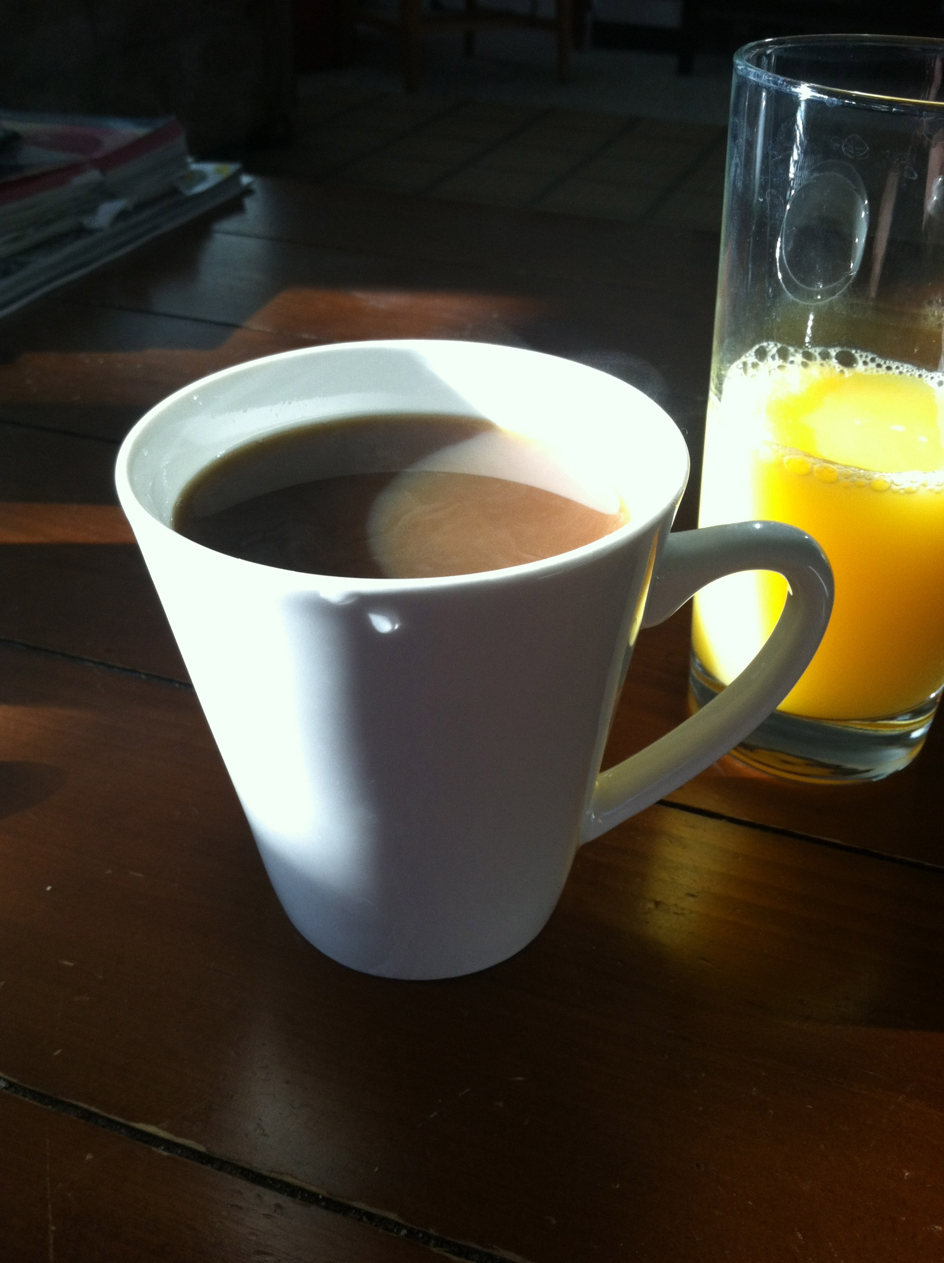 This isn't even from today, but my morning basically looks like this. Minus the orange juice and plus an english muffin.