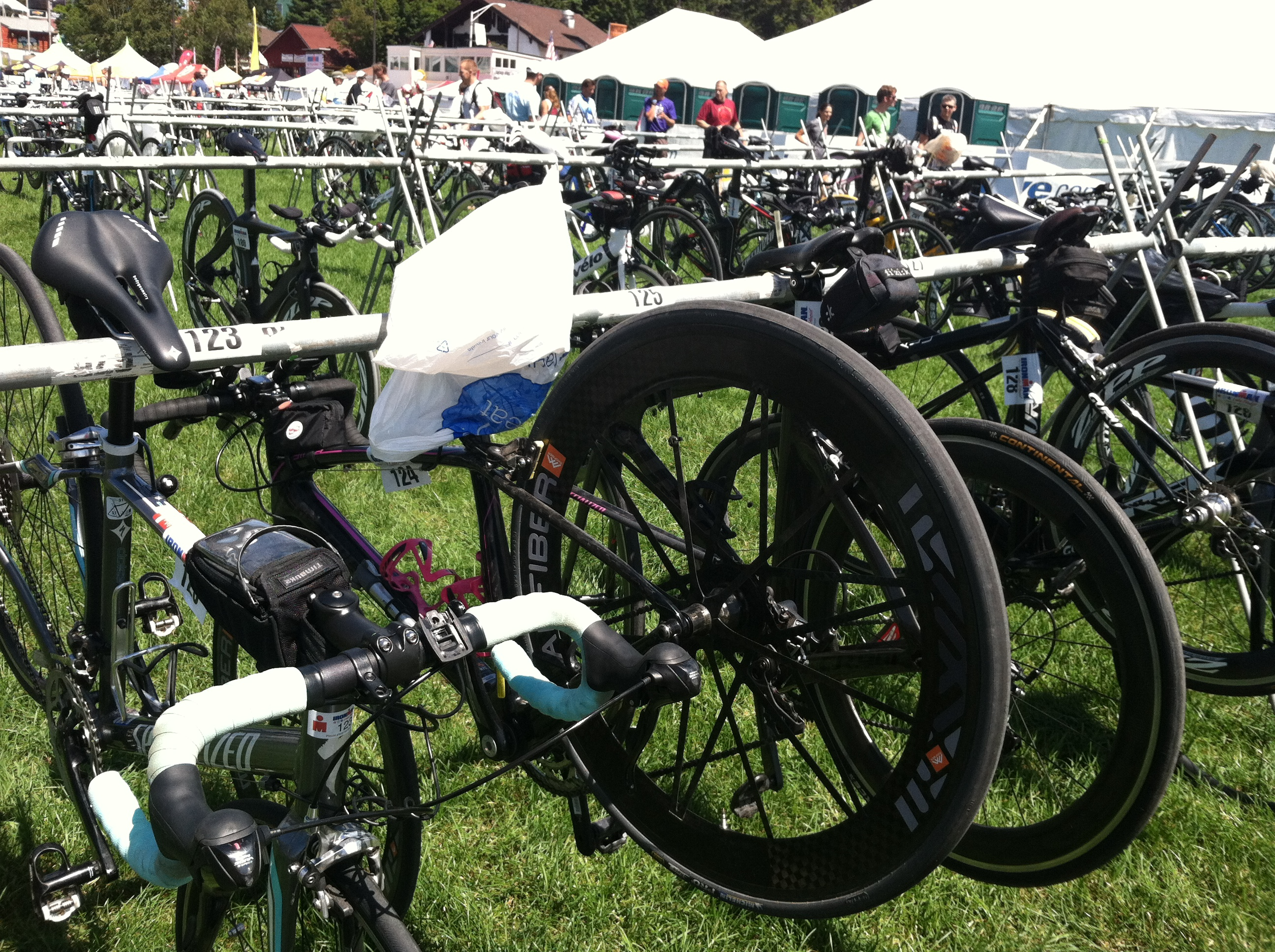 I literally laughed out loud when I saw Penelope amidst all the tri bikes with race wheels!